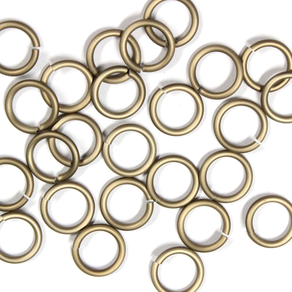 MATTE CHAMPAGNE / 10mm 12 GA Jump Rings / 25 Pack / sawcut round open anodized aluminum