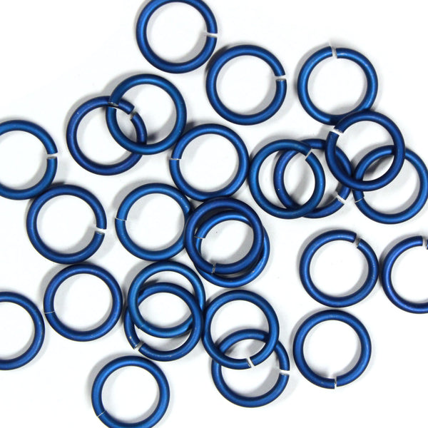 MATTE ROYAL BLUE / 10mm 12 GA Jump Rings / 25 Pack / sawcut round open anodized aluminum
