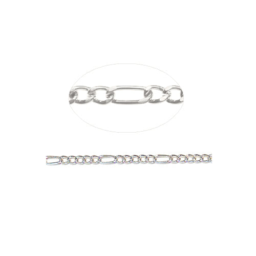 5-1 Figaro Chain Bright Silver / sold by the foot / 5.7mm long loop x 2.6mm small loop