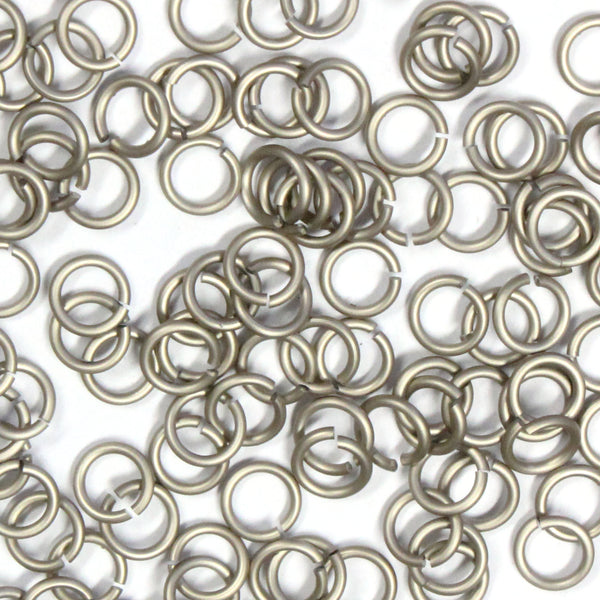 MATTE CHAMPAGNE / 4mm 18 GA AWG Jump Rings / 5 Gram Pack (approx 150) / sawcut round open anodized aluminum