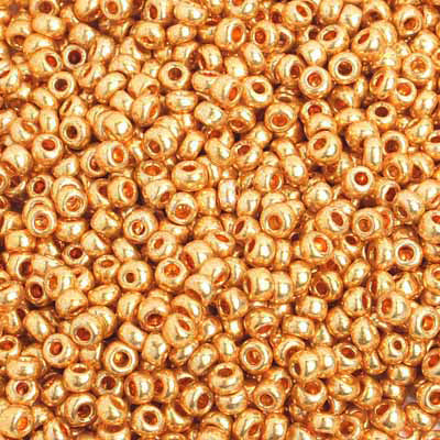 8/0 METALLIC GOLD Seed Beads / sold in one ounce packs / approx 3.1mm diameter / Czech glass beads