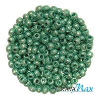 6/0 METALLIC GREEN Seed Beads / Preciosa-Ornela Czech Glass / sold in one ounce packs