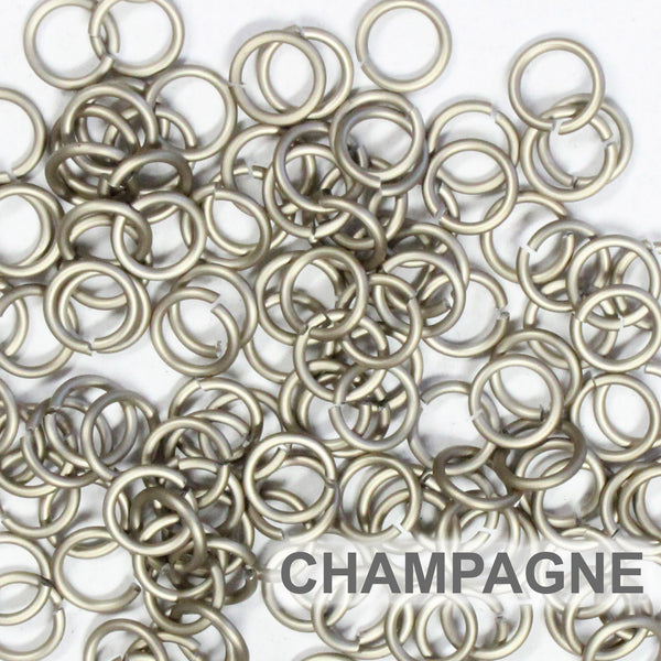 MATTE CHAMPAGNE / 5mm 18 GA Jump Rings / 5 Gram Pack (approx 130) / sawcut round open anodized aluminum