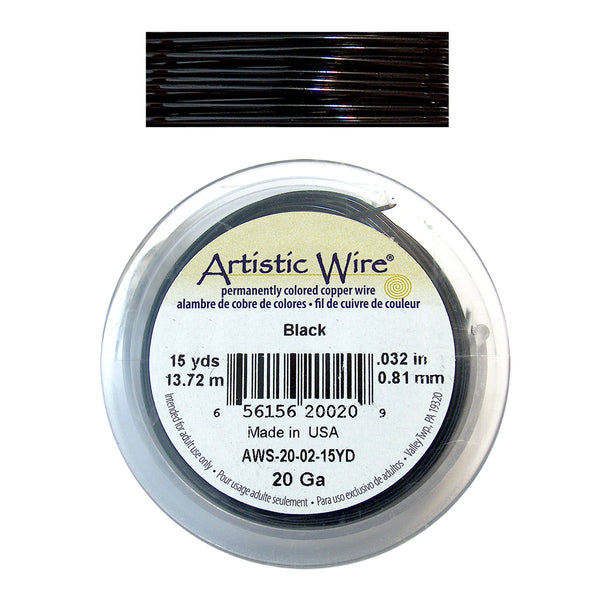BLACK 20 Gauge Color-Coated Round Wire / 15 Yard Roll / Artistic Wire