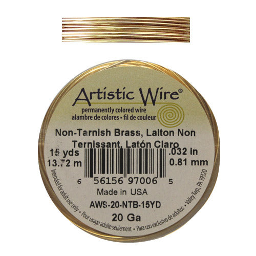 20 Gauge Yellow Brass Round Wire / 15 Yard Roll / Artistic Wire