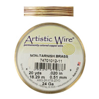 24 Gauge Yellow Brass Round Wire / 20 Yard Roll / Artistic Wire