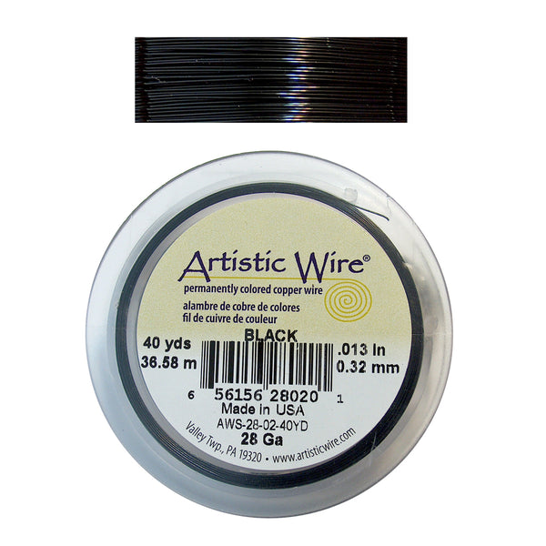BLACK 28 Gauge Color-Coated Round Wire / 40 Yard Roll / Artistic Wire