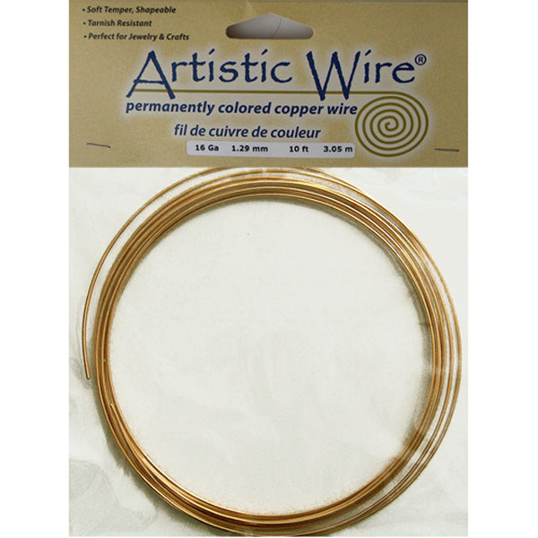 16 Gauge Yellow Brass Round Wire / 10 Foot Roll / Artistic Wire