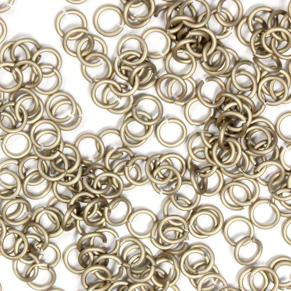 MATTE CHAMPAGNE / 3.4mm 20 GA Jump Rings / 5 Gram Pack (approx 275) / sawcut round open anodized aluminum