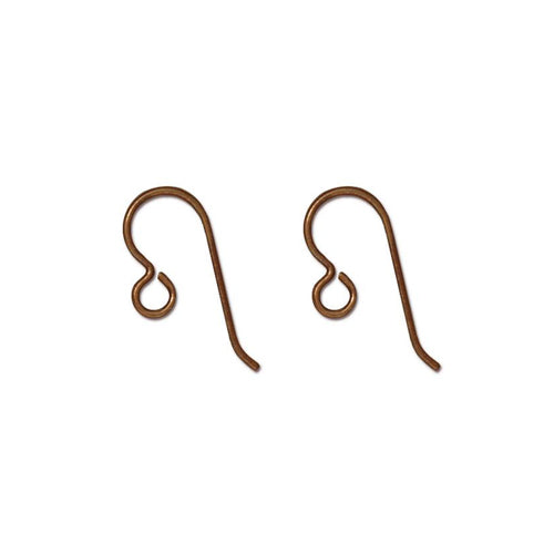TierraCast Antique Copper Niobium Hook Earwires / sold by the pair / these ear wires have an open loop for adding charms or pendants