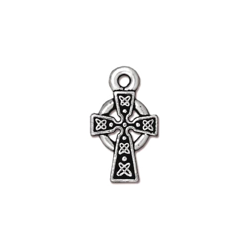 TierraCast Celtic Cross Charm / pewter with antique silver finish / 94-2089-12