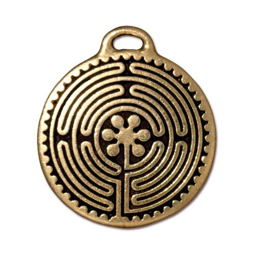TierraCast 26mm Labyrinth Charm / pewter with antique gold finish / 94-2325-26