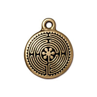 TierraCast 20mm Labyrinth Charm / pewter with antique gold finish / 94-2326-26