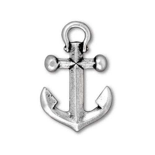 TierraCast Anchor Pendant Antique Silver / pewter with a plated finish / 94-2358-12
