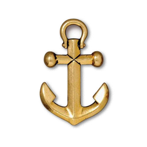 TierraCast Anchor Pendant Antique Gold / pewter with a plated finish / 94-2358-26