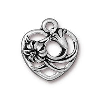 TierraCast Floral Heart Charm / pewter with antique silver finish / 94-2385-12