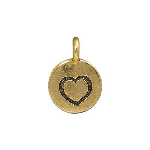 TierraCast Heart Charm / pewter with antique gold finish / 94-2421-26