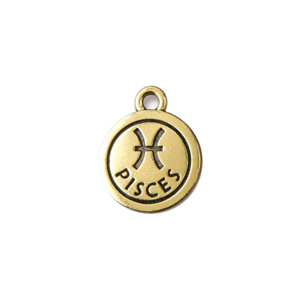 TierraCast Pisces Zodiac Charm / pewter with antique gold finish  / 94-2469-26