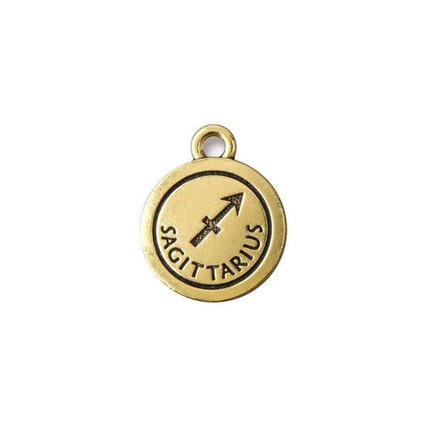 TierraCast Sagittarius Zodiac Charm / pewter with antique gold finish  / 94-2478-26