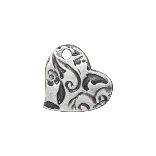 TierraCast Amor Heart Charm / pewter with antique finish / 94-2499-40