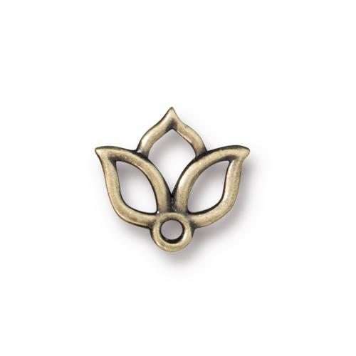 TierraCast Open Lotus Charm /  pewter with a brass oxide finish / 94-2509-27