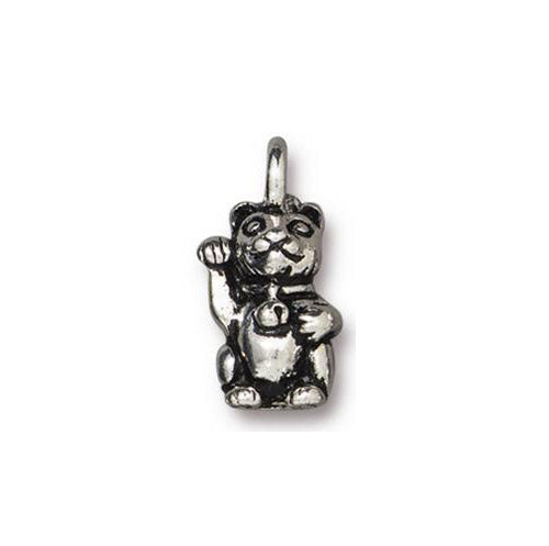 TierraCast 17mm Beckoning Kitty Charm / pewter with antique silver finish / 94-2535-12
