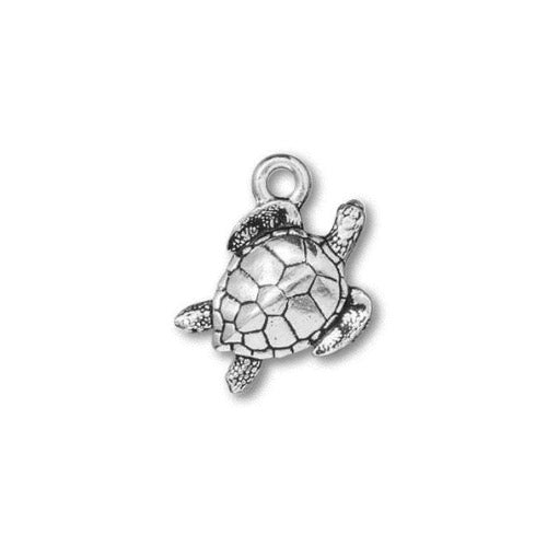 TierraCast Sea Turtle Charm / pewter with antique silver finish  / 94-2553-12