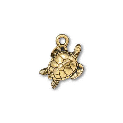 TierraCast Sea Turtle Charm / pewter with antique gold finish  / 94-2553-26