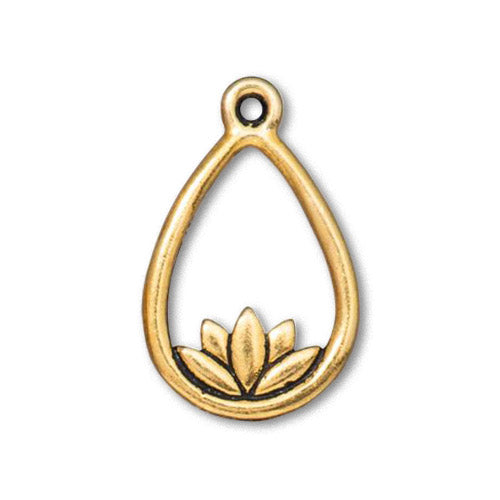 TierraCast Lotus Teardrop Charm / pewter with antique gold finish  / 94-2566-26