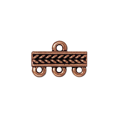 TierraCast Braided 3 To 1 Link / pewter with antique copper finish / 94-3049-18