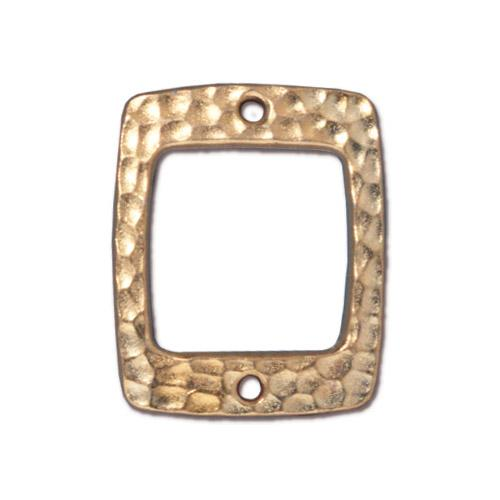 TierraCast Hammertone Drilled Rectangle Link / pewter with a bright gold finish / 94-3102-25