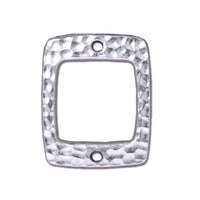 TierraCast Hammertone Drilled Rectangle Link / pewter with a bright rhodium finish / 94-3102-61
