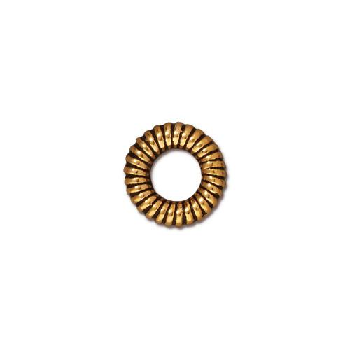 TierraCast 10mm Coiled Ring Bead / pewter with antique gold finish / 94-5592-26