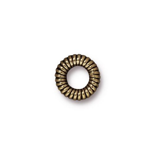 TierraCast 10mm Coiled Ring Bead / pewter with a brass oxide finish / 94-5592-27