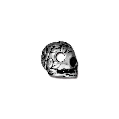 TierraCast Rose Skull Large Hole Bead / pewter with antique silver finish / 94-5715-12