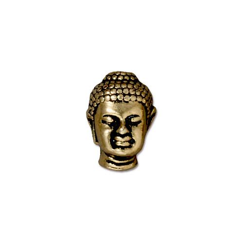 TierraCast Buddha Bead / pewter with antique gold finish / 94-5718-26