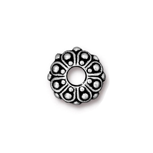 TierraCast Casbah Euro Euro Bead / pewter with antique silver finish / large hole bead / 94-5760-12