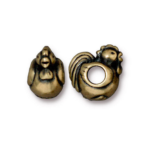 TierraCast Rooster Euro Bead / pewter with a brass oxide finish / large hole bead / 94-5764-27