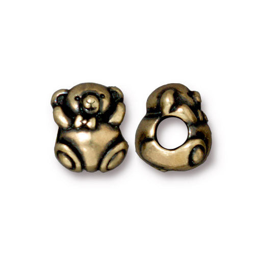 TierraCast Bear Euro Bead / pewter with brass oxide finish / large hole bead / 94-5765-27