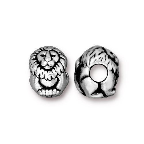 TierraCast Lion Euro Bead / pewter with antique silver finish / large hole bead / 94-5766-12
