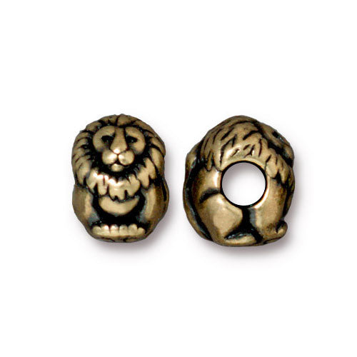 TierraCast Lion Euro Bead / pewter with a brass oxide finish / large hole bead / 94-5766-27