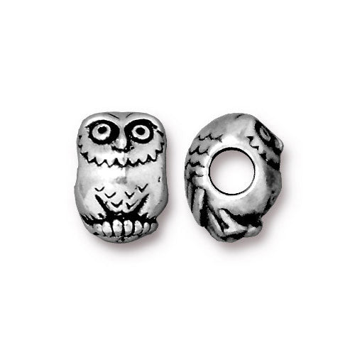 TierraCast Owl Euro Bead / pewter with antique silver finish / large hole bead / 94-5767-12