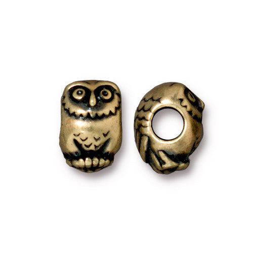 TierraCast Owl Euro Bead / pewter with a brass oxide finish / large hole bead / 94-5767-27