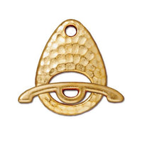 TierraCast Hammertone Ellipse Toggle Clasp / pewter with a bright gold finish / 94-6115-25