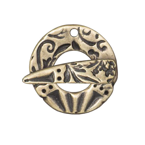 Flora Toggle Clasp / pewter with a brass oxide finish / 94-6223-27
