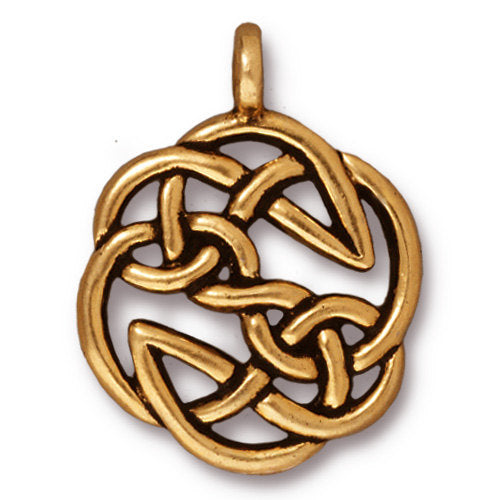 TierraCast Open Knot Pendant / pewter with antique gold finish  / 94-7508-26