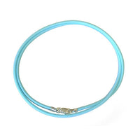 Aqua Blue Necklace / 2mm neoprene rubber / sterling silver lobster clasp