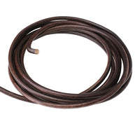DISTRESSED BROWN 5mm Round Leather Cord / sold by the meter / Regaliz Euro Leather / popular high quality, non-toxic jewelry cord