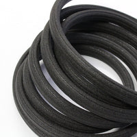 BLACK Regaliz 10 x 6mm Oval Corduroy Rubber Cord / sold by the meter / intended for use a component for bracelets