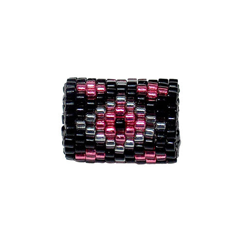 15mm Silver and Pink Diamonds on Black Peyote Stitch Tube Bead / Bead120818